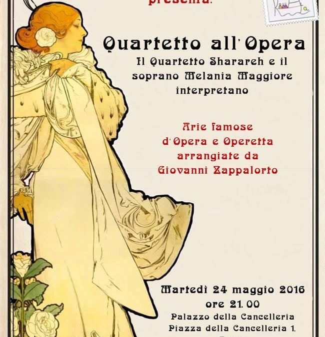 """Il 24 Maggio alle ore 21 al Palazzo della Cancelleria, """"Quartetto all' Opera""""…vi aspettiamo!"""